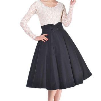 Women's Plus Rockabilly Lovely Office Lady Black High Waist Solid Swing Full Circle Skirt