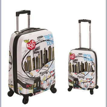 F215-NEWYORK 2 Pc Polycarbonate/Abs Upright Luggage Set