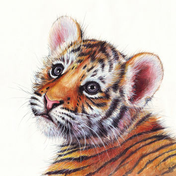 Tiger Cub Watercolor Painting Art Print by Olechka