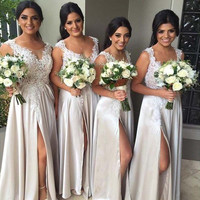 Elegant Lace Bridesmaid Dress Stretch Satin Split Cheap Maid of Honor Dresses 2017 Wedding Dress Prom Party Gowns