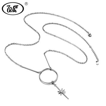 WK Genuine 925 Sterling Silver Super Long Necklace For Women 2017 Simple Circle Long Pendants Necklaces Solid S925 NEW W9 NB067
