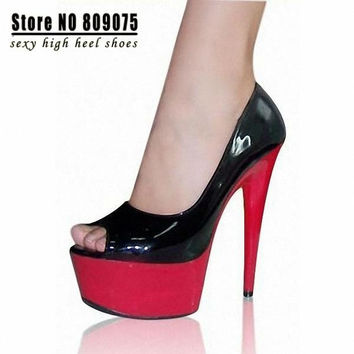 SALE Fashion Platform Peep Toe Pumps For Women Party 6 Inch High Heels Shoes HOT 15cm Red Sole Sexy Clubbing Exotic Dancer Shoes = 1945717764