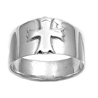 925 Sterling Silver Solitaire Greek Iron Cross Inscribed 12MM Ring