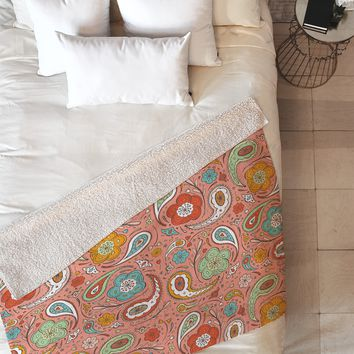 Heather Dutton Adora Paisley Fleece Throw Blanket