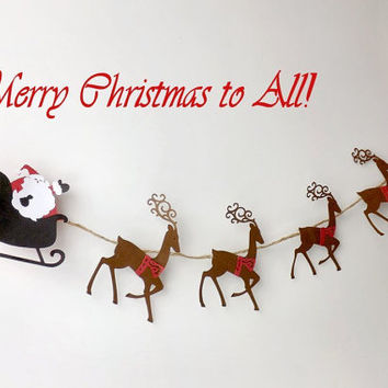 Santa Sleigh and Reindeer Christmas Garland, Holiday Banner, Die Cut Wall Hanging, Folk Art Paper Decoration