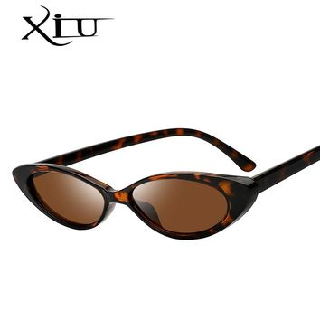 XIU 2018 Oval Shades Sunglasses Women Brand Designer Small Frame Brown Lens Sunglasses Vintage Fashion Glasses Female Gafas