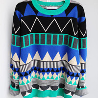 RETRO GEOMETRIC PATTERN KNITTED SWEATER