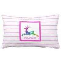 Multi-colored Reindeer; merry.and.bright Pillows