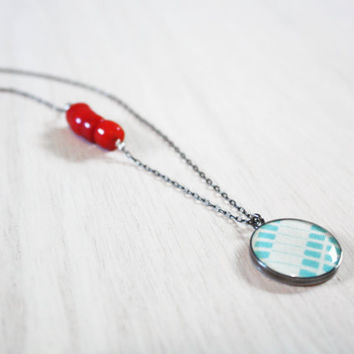Aqua & Red Coral Necklace - 1940s coral beads light blue geometric fabric charm on delicate sterling silver chain - vintage fabric jewelry