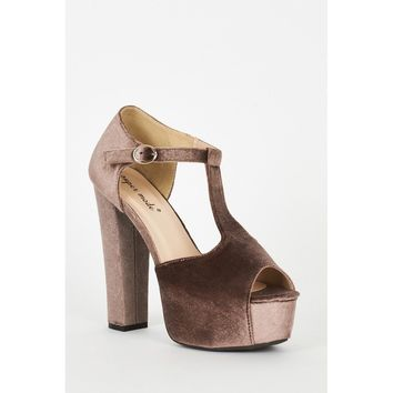Mocha Velvet Block Heel Platform T-Bar Sandals