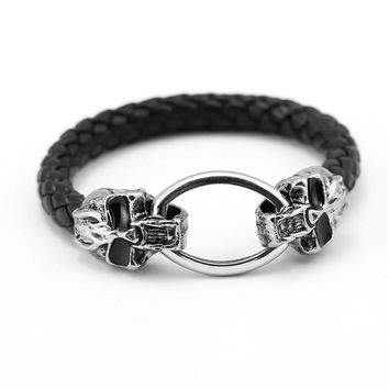 Punk Men's Jewelry Skeleton Skull logo woven Leather Stainless Steel Bracelets For Men Best Friends Gift HF10017