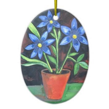 Blue Flowers Double-Sided Oval Ceramic Christmas Ornament