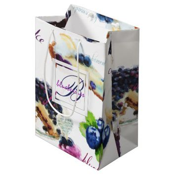 Watercolor Blueberries and Sweets Monogram Medium Gift Bag
