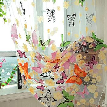 See Through Colorful Butterfly Panel Scarf Tulle Window Screens Door Curtain Voile Curtain