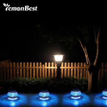 Solar Powered Mosaic Glass Ball Light LED Garden Lawn Lamp with RGB Color for Beach Courtyard Holiday Party Decoration