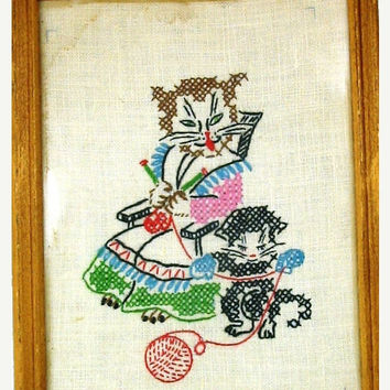 20% OFF SUMMER SALE Cross Stich Kitty Wall Hanging