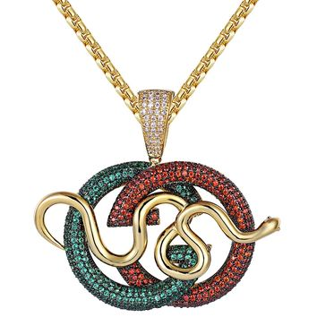 Multi Color Men's Hip Hop Luxury Logo Snake Pendant Chain