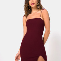 Verso Bodycon Dress in Burgundy by Motel