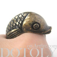 Dotoly   3D Fish Sea Animal Hug Wrap Ring in Bronze - Size 6 and 7 Available   Online Store Powered by Storenvy
