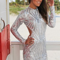 Silver Sequin Long Sleeve Short Dress with Open Back