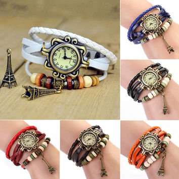 Eiffel Tower Quartz Leather Bracelet Wrist Watch for Women