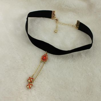 Korean version of the simple black ribbon neck necklace Choker neckband red gemstone necklace female tassel clavicle LH