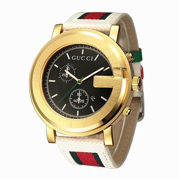 Perfect GUCCI Woman Men Fashion Stripe Quartz Watches Wrist Watch