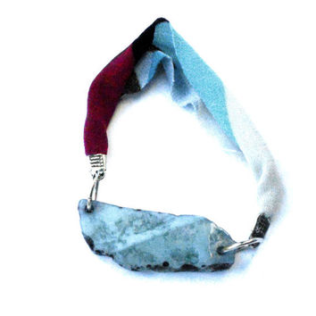Friendship fabric bracelet with light blue agate one of a kind - Bfriends collection - FREE SHIPPING