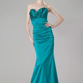 Theia - 881705 Strapless Origami Ruched Satin Sheath Dress