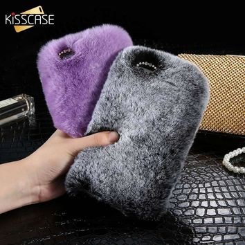 KISSCASE Real Rabbit Fur Case For iPhone X ten 10 5 6 6S Plus Luxury Hair Girly Cover For iPhone 7 8 Diamond Woman Cute Shells
