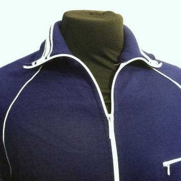1980's Navy Blue with White Trim Mens Track Jacket.