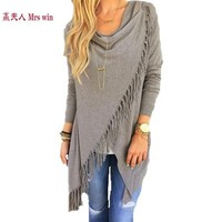 Cardigan Feminino Cotton Ponchos Tassel Single Button Cardigans Sweater Women Blusas De Inverno Feminina Loose Women Coat C30