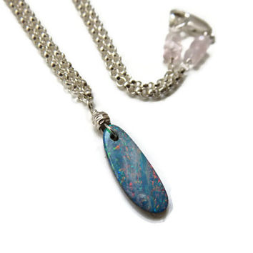 Rare Australian Opal Blue Turquoise Lightning Ridge Sterling Silver Necklace ... Simply Breathtaking