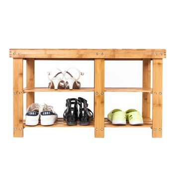80*28*45.5cm Portable Flat Bamboo Splint Shoes Stool with Storage Wood Color