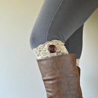 Tan Lace Boot Cuffs, Soft Stretch lacy socks for boots