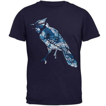 LMFCY8 Spring Flowers Blue Jay Bird Mens T Shirt