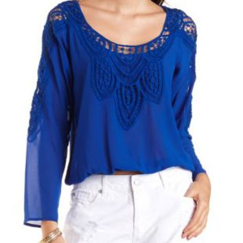 Crochet-Trim Long Sleeve Chiffon Top by Charlotte Russe