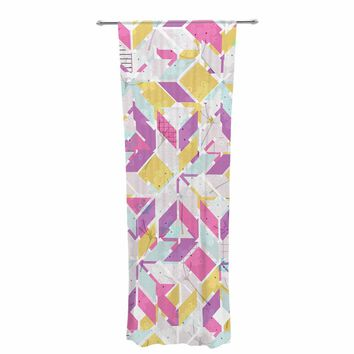 "Michelle Drew ""Living In The City - Summer"" Pink Yellow Mixed Media Decorative Sheer Curtain"