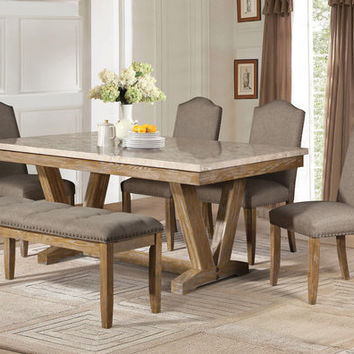 Home Elegance 5470-72 6 pc Jemez collection natural wood finish marble top dining table set