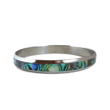 Abalone Shell Bracelet, Vintage Silver Tone Skinny Bangle, Abalone Inlay Bracelet, Gift Idea for Her
