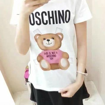 DCKKID4 Moschino Bear Print Round Collar Short Sleeve T-Shirt