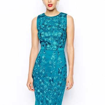 ASOS Premium Wiggle Dress With Floral Embroidery