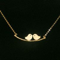 Love birds Necklace, Twin birds pendant, Birds on a branch necklace from LOOBACK FASHION STORE