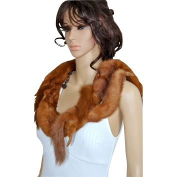 Real Fur Mink Stole, Fur Collar, Flapper Shawl, Demi Buff Wrap, Marten Shrug