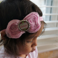 Pink Shabby Rose Valentines Day Flower Hair Bow Headband, Girl Headband, Baby Girl Headband, Infant Girl Headband, Newborn Girl Headband