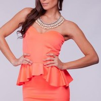 Neon Orange Strapless Peplum Dress with Sweetheart Neckline