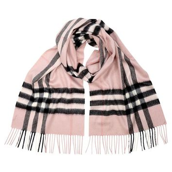 BURBERRY Women's Rose Pink Heritage Giant Check Plaid 100% Cashmere Scarf