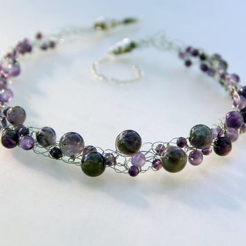 Amethyst Chunky crochet wiring necklace Bridesmaids gifts Free US Shipping handmade Anni Designs