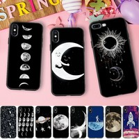 Space Astronaut Case For iphone 7 Case Sun And Moon Tumblr Silicone Cover Phone Cases For iphone 6 s 6S 5 5S SE 6/7/8 PLus 8 X