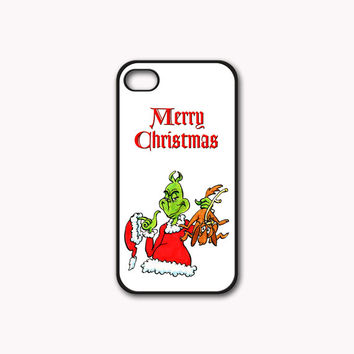 The Grinch Merry Christmas Print On Rubber or Plastic - iPhone 4/4s, 5 - Samsung S3 i9300, S4 i9500 - iPod 4, 5